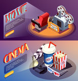 3D Cinema Banners Collection Stock Images