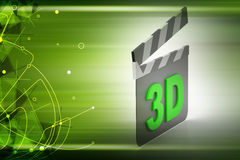 3d cinema clap board. In color background Stock Photography