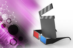 3d cinema clap board with glass. In color background Stock Photo