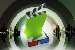 3d cinema clap board man head shaped. In color background Royalty Free Stock Photos