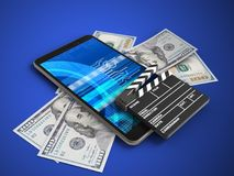 3d cinema clap. 3d illustration of mobile phone over blue background with banknotes and cinema clap Royalty Free Stock Photo