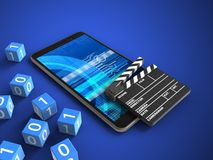 3d cinema clap. 3d illustration of mobile phone over blue background with binary cubes and cinema clap Stock Photo