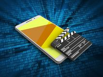 3d cinema clap. 3d illustration of white phone over digital background with cinema clap Royalty Free Stock Photo