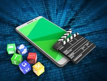 3d cinema clap. 3d illustration of white phone over digital background with cubes and cinema clap Stock Photography