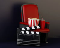3d Cinema clapper board, popcorn and drink. 3d renderer illustration. Cinema clapper board, popcorn and drink Stock Images