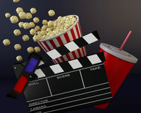 3d Cinema clapper board, popcorn and drink. 3d renderer illustration. Cinema clapper board, popcorn and drink Royalty Free Stock Image
