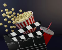 3d Cinema clapper board, popcorn and drink. 3d renderer illustration. Cinema clapper board, popcorn and drink Royalty Free Stock Photography