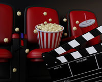 3d Cinema clapper board, popcorn and drink. 3d renderer illustration. Cinema clapper board, popcorn and drink Stock Photo