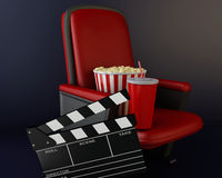 3d Cinema clapper board, popcorn and drink. 3d renderer illustration. Cinema clapper board, popcorn and drink Royalty Free Stock Photo