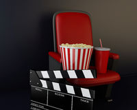 3d Cinema clapper board, popcorn and drink. 3d renderer illustration. Cinema clapper board, popcorn and drink Stock Image