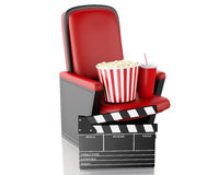 3d Cinema clapper board, popcorn and drink. Royalty Free Stock Images