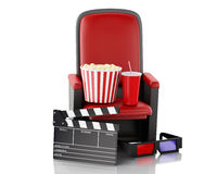 3d Cinema clapper board, popcorn and drink. Stock Photography