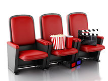 3d Cinema clapper board, popcorn and drink on theater seat. 3d illustration. Cinema clapper board, popcorn and drink on theater seat. cinematography concept Stock Images