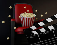 3d Cinema clapper board and popcorn. 3d renderer illustration. Cinema clapper board and popcorn. Cinema concept Royalty Free Stock Photography
