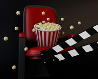 3d Cinema clapper board and popcorn. 3d renderer illustration. Cinema clapper board and popcorn. Cinema concept Stock Photo