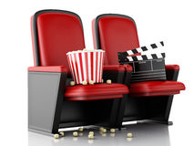 3d Cinema clapper board and popcorn on theater seat. Royalty Free Stock Photo