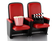 3d Cinema clapper board and popcorn on theater seat. Stock Photos