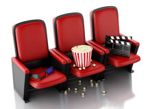 3d Cinema clapper board and popcorn on theater seat. Stock Photography