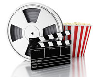 3d Cinema clapper, Film reel and popcorn. 3d renderer image. Cinema clapper board, Film reel and popcorn. cinematography concept. Isolated white background Royalty Free Stock Images