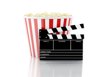 3d cinema clapper and popcorn. Image of cinema clapper board and popcorn. cinematography concept. 3d image Royalty Free Stock Photography