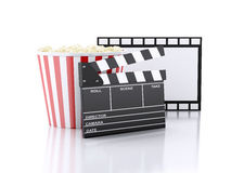 3d cinema clapper and popcorn. Image of cinema clapper board and popcorn. cinematography concept. 3d image Stock Images