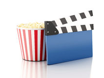 3d cinema clapper and popcorn. Image of cinema clapper board and popcorn. cinematography concept. 3d image Royalty Free Stock Photo