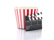 3d cinema clapper and popcorn. Image of cinema clapper board and popcorn. cinematography concept. 3d image Royalty Free Stock Image