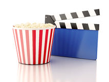 3d cinema clapper and popcorn Royalty Free Stock Image
