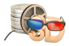 3D cinema concept, 3D glasses and film reels, 3D rendering. Isolated on white background Stock Image
