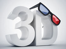 3d cinema and glasses. 3d high quality render Royalty Free Stock Images