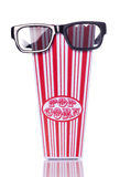 3d cinema glasses and retro popcorn Stock Images