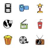 3d cinema icons set, cartoon style. 3d cinema icons set. Cartoon illustration of 9 3d cinema vector icons for web Royalty Free Stock Photo