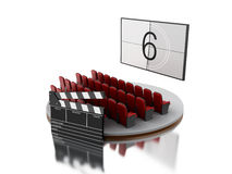 3d Cinema movie theater with cinema clap. Royalty Free Stock Photography