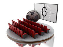 3d Cinema movie theater with film reel. Stock Images