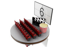 3d Cinema movie theater with popcorn and cinema clap. Stock Photo