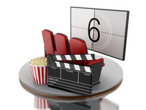 3d Cinema movie theater with popcorn and cinema clap. Royalty Free Stock Image