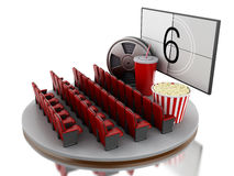 3d Cinema movie theater. 3d renderer image. Cinema movie theater with popcorn, film reel and soda.  white background Royalty Free Stock Photos