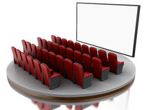 3d Cinema movie theater. 3d renderer image. Cinema movie theater.  white background Stock Photo