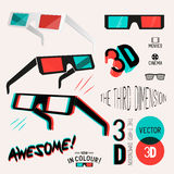 3D Cinema Retro Glasses Collection Royalty Free Stock Image