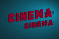 3d cinema sign. 3d cinema sign with purple letters on dark blue background. Respective effect. Vector illustration Royalty Free Stock Image