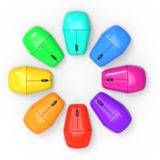 3d Circle of colored computer mice Royalty Free Stock Image