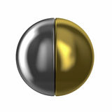3D circle. Cube3D circle with golden part and half of silver part Royalty Free Stock Image