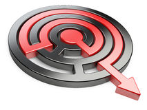 3d circle maze with red arrow. Image isolated on a white background Royalty Free Stock Photos