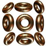 3D circle / ring. Lots of metallic solid  3d circle / ring Royalty Free Stock Photography