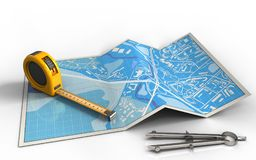 3d circle tool. 3d illustration of city map with ruler and stock illustration