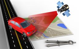 3d circle tool. 3d illustration of map with car and circle tool Stock Photo