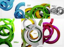 3d circles and rings, vector digital background set. Vector illustration Stock Photo