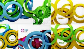 3d circles and rings, vector digital background set. Vector illustration Stock Images