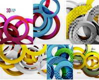 3d circles and rings, vector digital background set. Vector illustration Stock Image