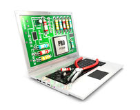 3d circuit board on laptop screen Royalty Free Stock Image
